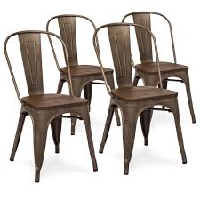 Outdoor Wood Dining Chairs Set Of 4 Industrial Distressed Metal Dining Chairs W Wood Seat