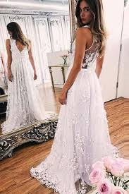 white lace prom dress a line white lace v neck sleeveless evening prom dresses sweep