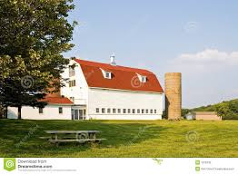 barn with red gambrel roof and silos stock photography image