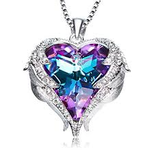 swarovski fashion necklace images Purple love heart pendant necklaces gifts for wife jpg