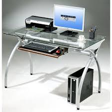 Small Glass Top Computer Desk Techni Mobili Modern Clear Glass Top Computer Desk With Pull Out