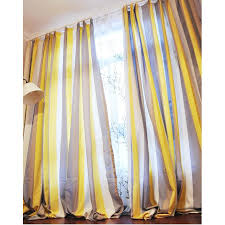 Striped Yellow Curtains And Coffee Striped Linen Brief Blackout Curtains