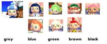all acnl hairstyles with colours face hair styles