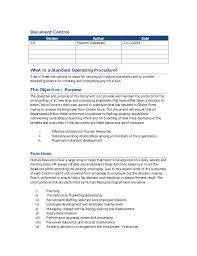 hr standard operating procedure