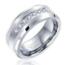 8mm diamond 8mm mens tungsten ring diamond inlay center brushed wedding