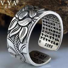 fashion male rings images V ya 100 real 999 pure silver jewelry lotus flower open ring for jpg