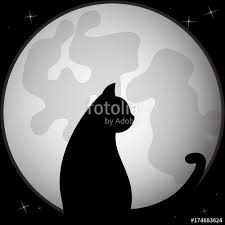 black silhouette of cat sitting in front of the moon vector