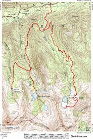 Topographic Map Of Utah by White Pine Lake Little Cottonwood Canyon Hiking