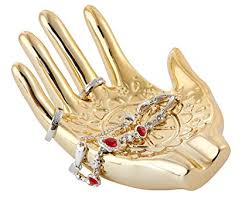 eclectic unicorn ring holder images Gold plated ceramic embossed hamsa hand for ring and jpg