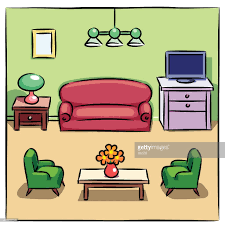 Livingroom Cartoon Colorful Drawing Of Living Room With Furniture Vector Art Getty