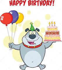 happy birthday greeting with gray bulldog holding up a birthday