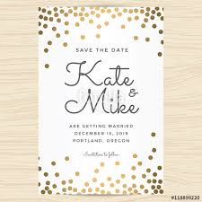 save the date wedding invitation card template with golden color