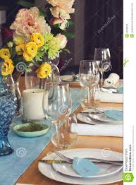 Formal Table Setting Formal Table Setting For Lunch Or Dinner With Flowers Centrepiec