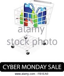black friday motor oil a shopping cart full with various size of engine oil or motor oil
