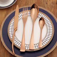 lekoch rose gold flatware set 18 10 stainless steel cutlery dinner