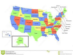 us map of alaska map united states including alaska hawaii stock illustration