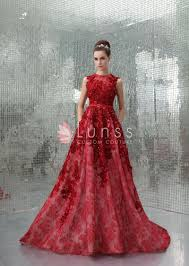 evening dresses extravagant embroidered illusion neck luxury ruby evening