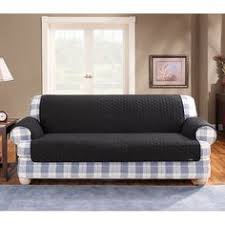 Black Loveseat Slipcover Sure Fit Stretch Plush Black T Cushion Loveseat Slipcover By Sure