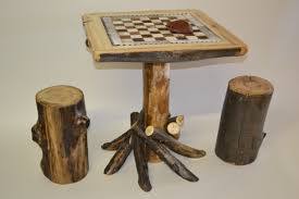 aspen log checkerboard table with stools rustic furniture mall