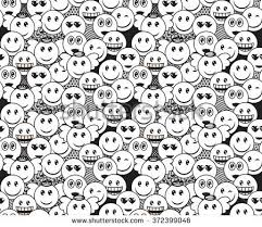 doodle emoticon seamless black white doodle pattern stock vector 372399046