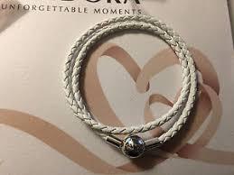 leather charm bracelet ebay images Authentic pandora ivory white braided double leather charm jpg