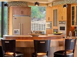 contemporary kitchen design with creative wood kitchen island and
