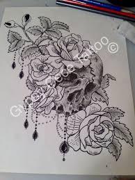 vintage victorian roses skull tattoo design by gypsycece on deviantart