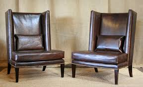 furniture brown leather tufted wingback chair with wooden legs