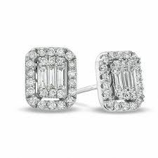 diamond stud earring 5 8 ct t w baguette and diamond stud earrings in 14k white
