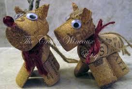 rustic pony wine cork ornament in poinsettia the