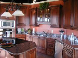 Kitchen Glass Door Cabinets Fabulous Brown Color Mahogany Wood Kitchen Cabinets Featuring