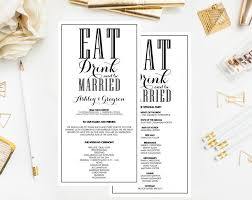 customizable wedding programs printable wedding programs black and white eat drink and be