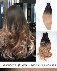 ombre extensions ombre light ash brown clip in hair extensions high quality cp07