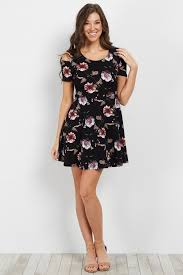 cold shoulder dress black floral cold shoulder dress