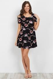 cold shoulder dress black floral cold shoulder dress