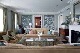 Decorating Ideas Living Room Brown Sofa Appealing Design With Small Blue Pattern Wall Facing Big Brown