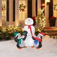 4 airblown snowman with penguins