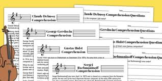 music reading comprehension activity music comprehension