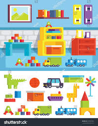 set furniture childrens rooms game room stock vector 587066369