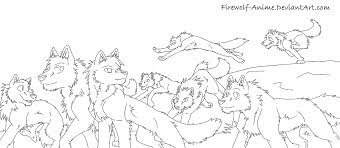 Wolf Pack Of 8 Line Art By Firewolf Anime On Deviantart Wolf Pack Coloring Pages