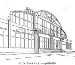 stock illustration of wireframe of office building 3d