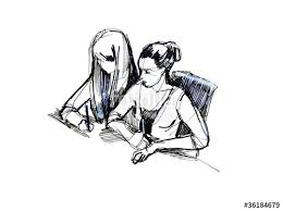 sketch of two girls in the classroom at a desk