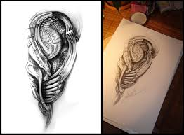 tattoo design biomeh 01 by grimmy3d on deviantart