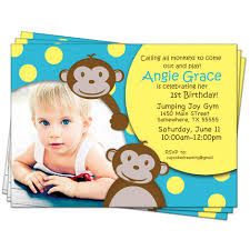 2nd Birthday Invitation Card Monkey 1st Birthday Invitations Vertabox Com