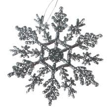 glitter snowflake ornaments 4 inch silver snowflakes
