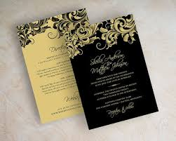 and black wedding invitations black and gold wedding invitations plumegiant