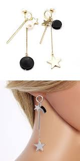 earrings you can sleep in sweet ear drop alloy tassel moon pearl earrings for women