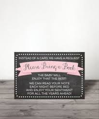 Baby Shower Instead Of A Card Bring A Book Chalkboard Baby Shower Book Request Card Book Request Baby