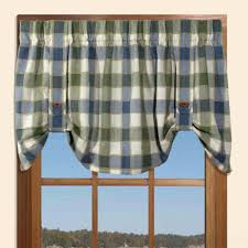 plymouth plaid tie up valance with button straps curtainshop com