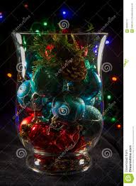 Christmas Lights In A Vase by Decorative Vase Filled With Christmas Ornaments Stock Photo